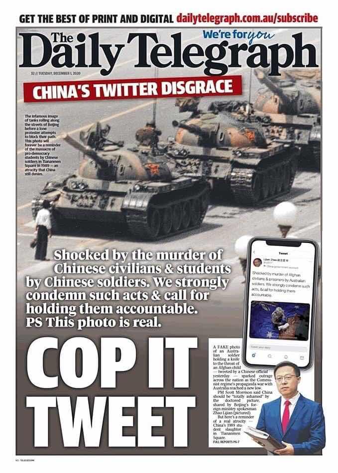 Tờ Daily Telegrahp xới lại sự kiện Thiên An Môn trên trang nhất số báo hôm nay như một sự trả đũa và bày tỏ sự giận dữ trước bức ảnh của Triệu Lập Kiên trên Twitter.