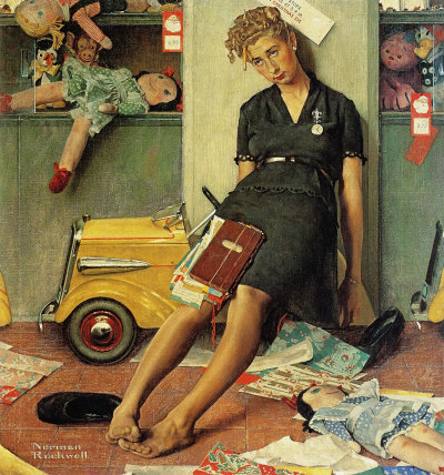 Tired Salesgirl on Christmas Eve Norman Rockwell