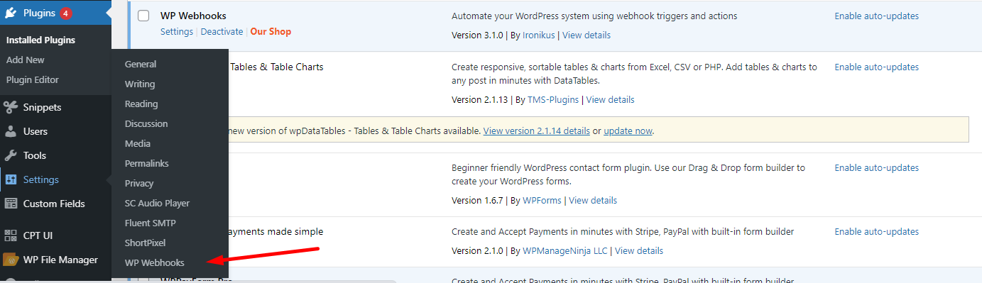 contact form 7 wp webhook