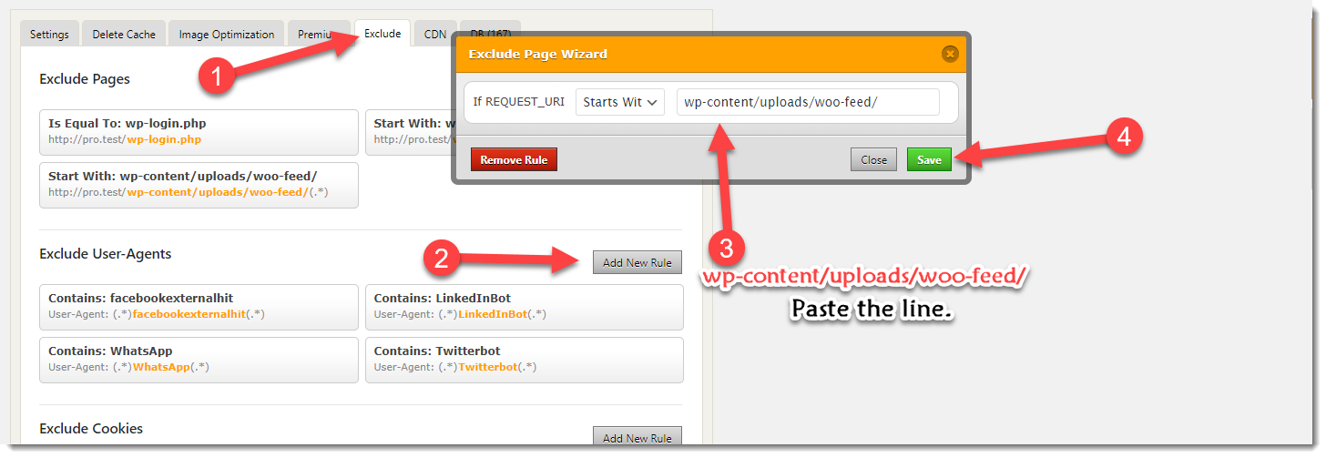 exclude feed file from WP Fastest cache