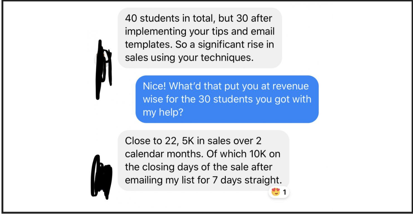Image showing a testimonial that was used in the email marketing funnel.