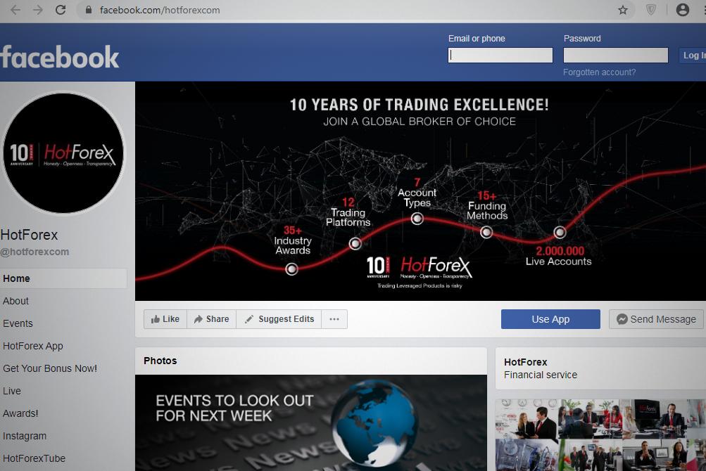 Facebook Page of HotForex