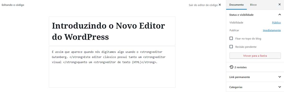 Confira como fica o editor HTML depois da introdução da interface Gutenberg