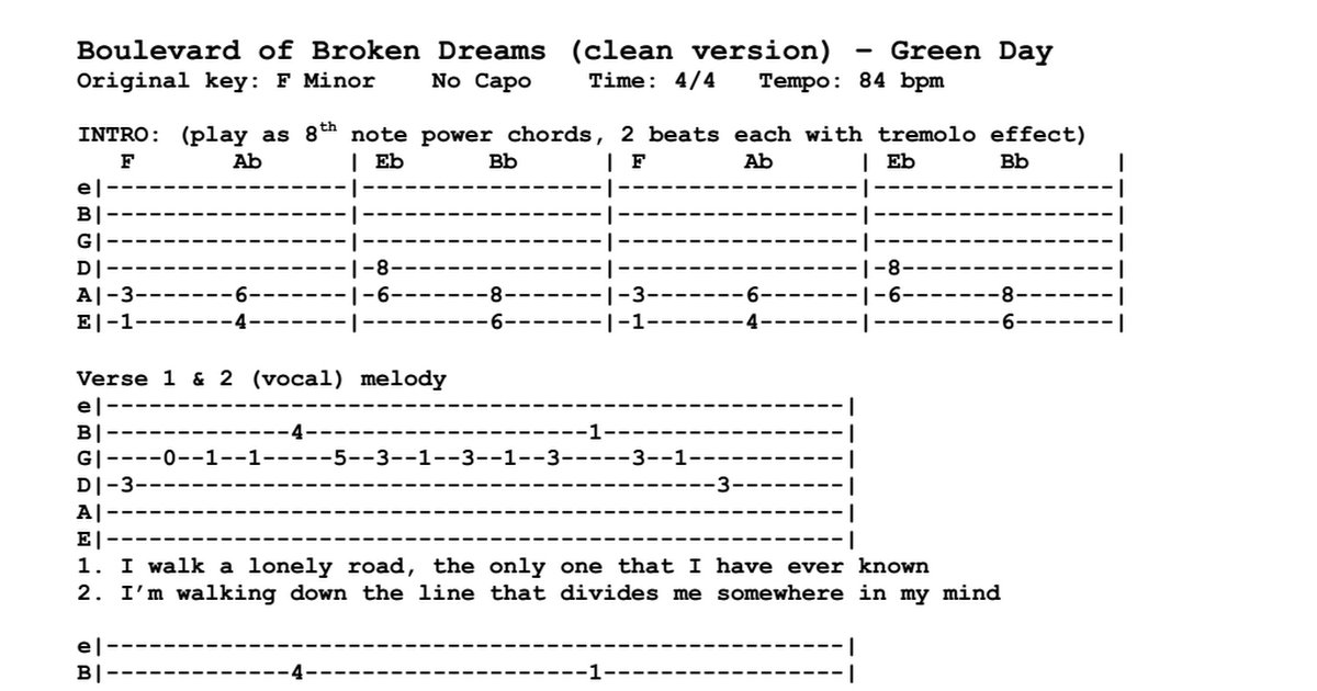 Green Day - Boulevard of Broken Dreams (tabs).pdf - Google Drive