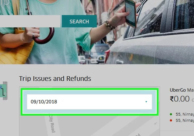 """Around the """"Trip Issues and Refunds"""" section, you will find a search bar. Type the date in the search bar."""