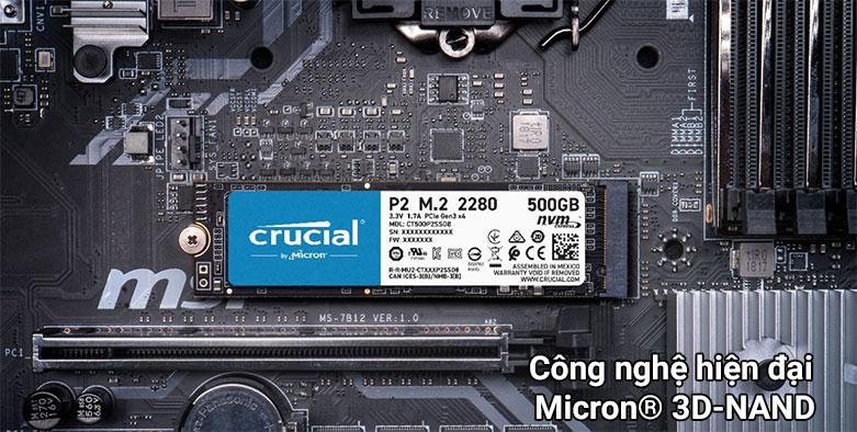Ổ cứng SSD Crucial P2 500GB 3D NAND NVMe PCIe M.2 (CT500P2SSD8)  Công nghệ hiện đại