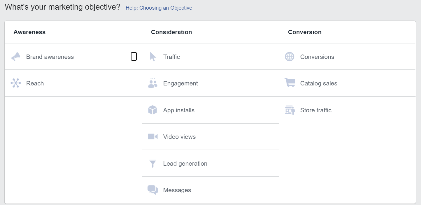 Choosing a marketing objective on Facebook