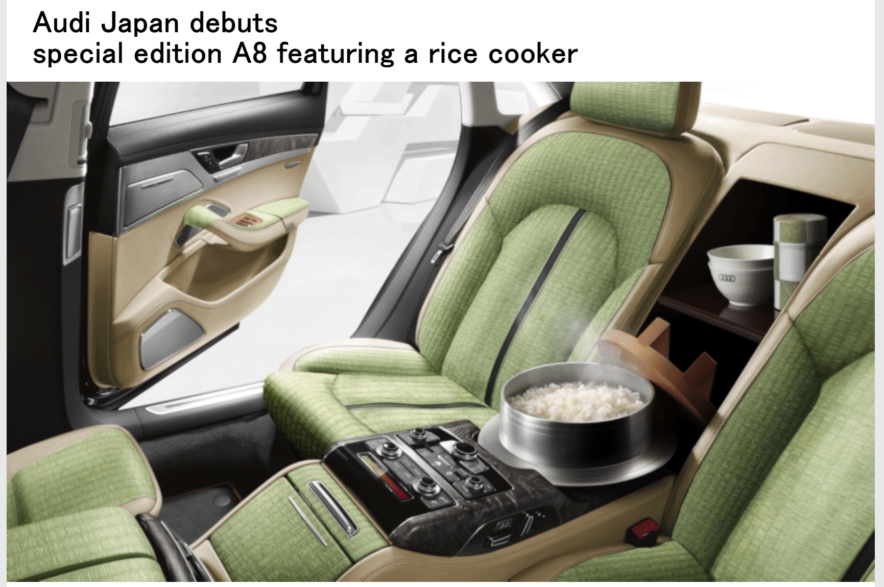 Audi Japan April Fool's ad for rice cooker