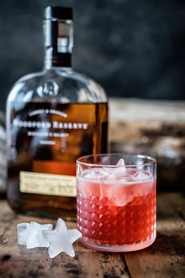 Scofflaw bourbon cocktail served on the rocks with star shaped ice cubes