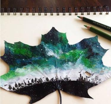 رسم على ورقة شجرة