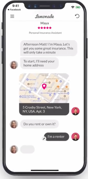insurance chatbot example by Lemonade