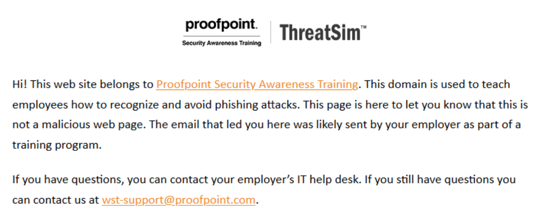 "A second screenshot from the complaint, showing the ""teachable moment"" message shown by the plaintiff's cybersecurity solution."