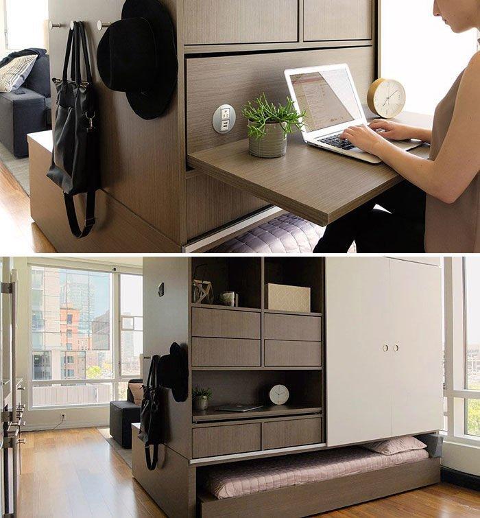 Nội thất thông minh tích hợp giường, tủ quần áo, bàn làm việc