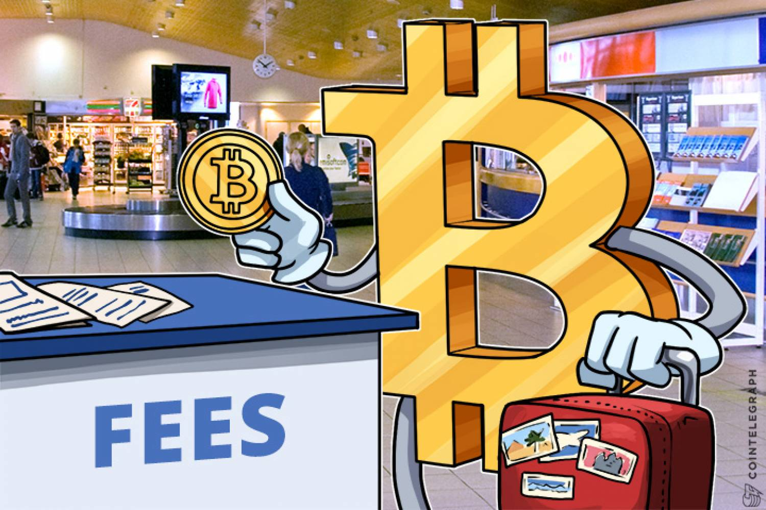 Bitcoin transaction fees and an airport