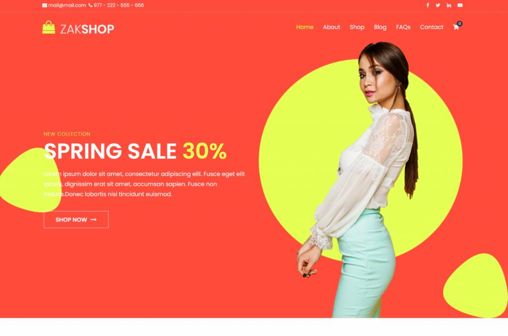 template de loja virtual Zakra