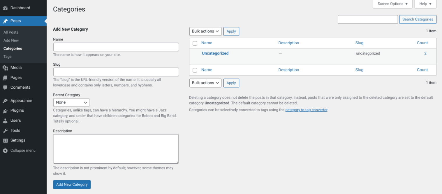 Screenshot of the back end of WordPress site under Post > Categories