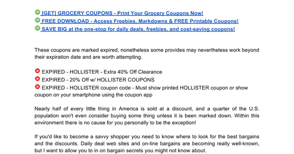 hollister coupons google docs