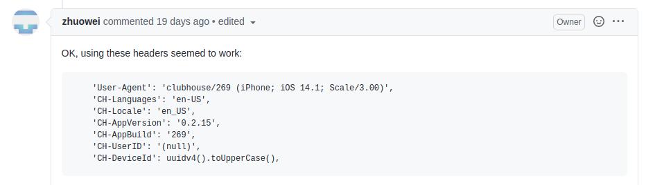 Screenshot of zhouwei comment and code