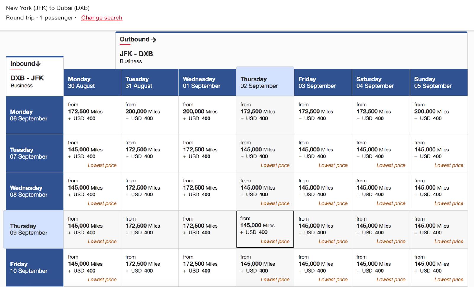 Round-trip itinerary
