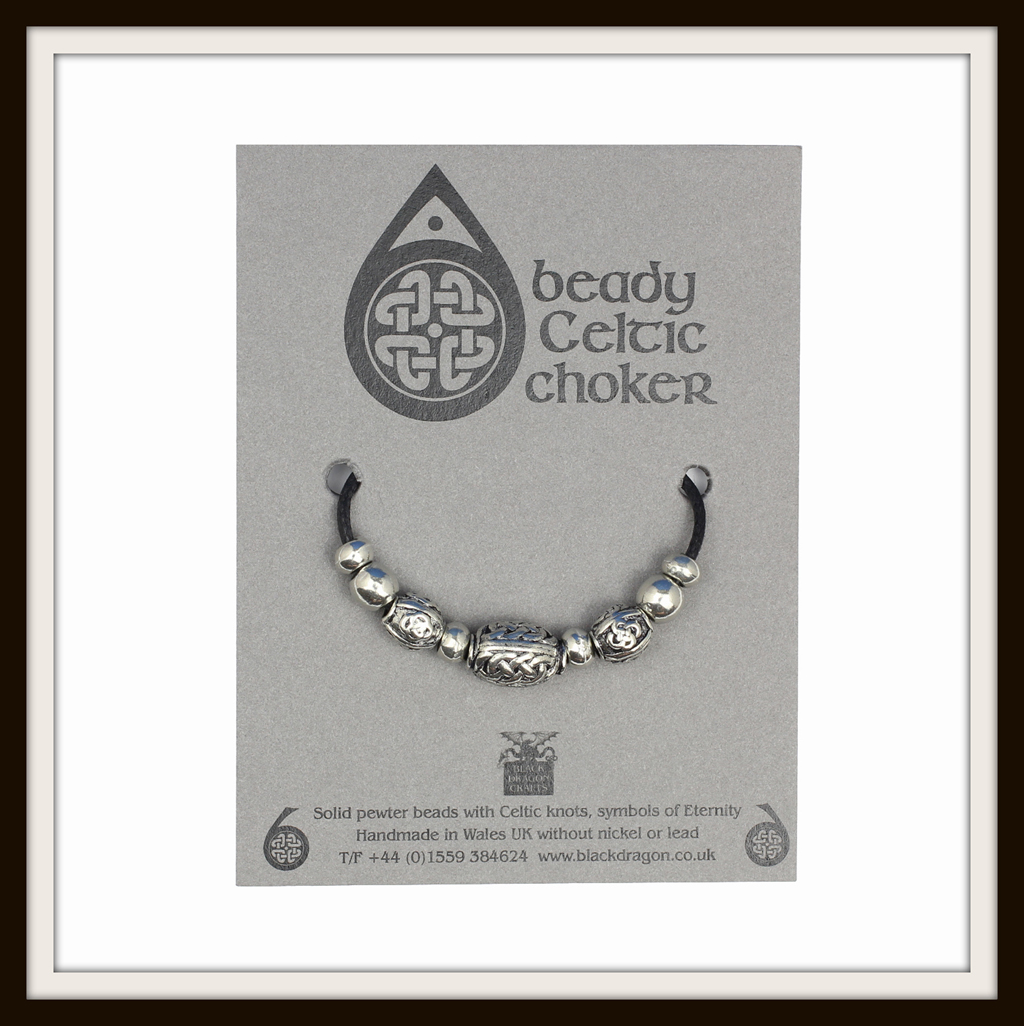 BLACK ONYX /& CELTIC RONDO BEAD NECKLACE ~ FROM BLACK DRAGON ~ MADE IN THE UK