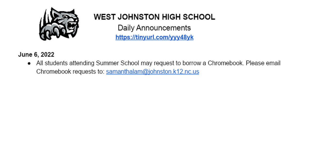 REMIND Daily Announcements