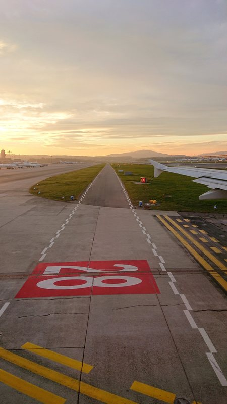 Empty Runway During Sunset