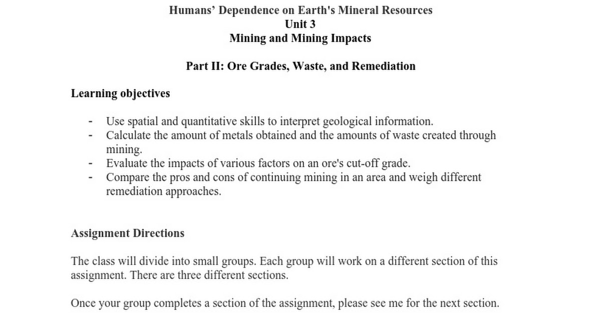 ore grades and mining google docs