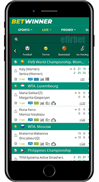 BetWinner mobile bets for iOS