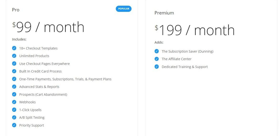SamCart Pricing options