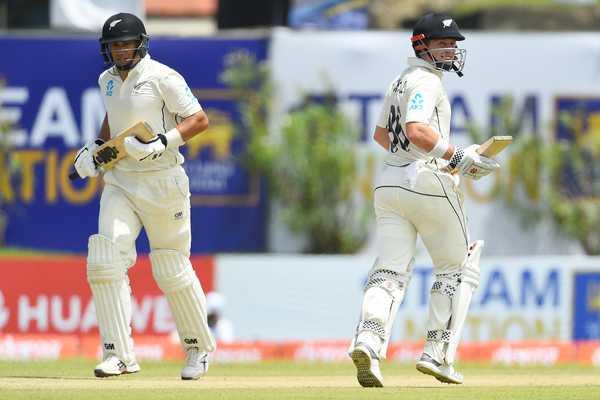 Taylor and Nicholls in a partnership against Sri Lanka
