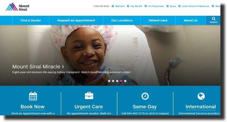 Mount Sinai  professional website design