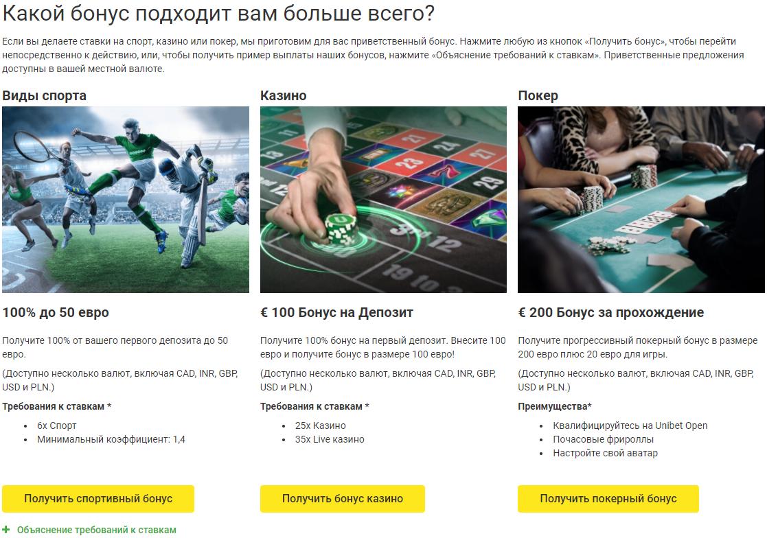 Текущие бонусы на официальном сайте Unibet