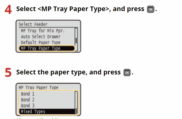 Canon LBP312x Specifying Paper Size and Type in the Paper