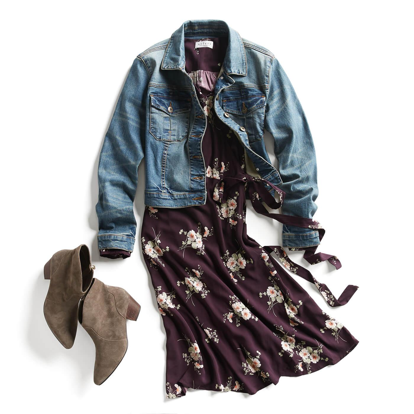 Description: oversized denim jacket with dress
