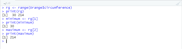 The image shows how the range() function works under R.