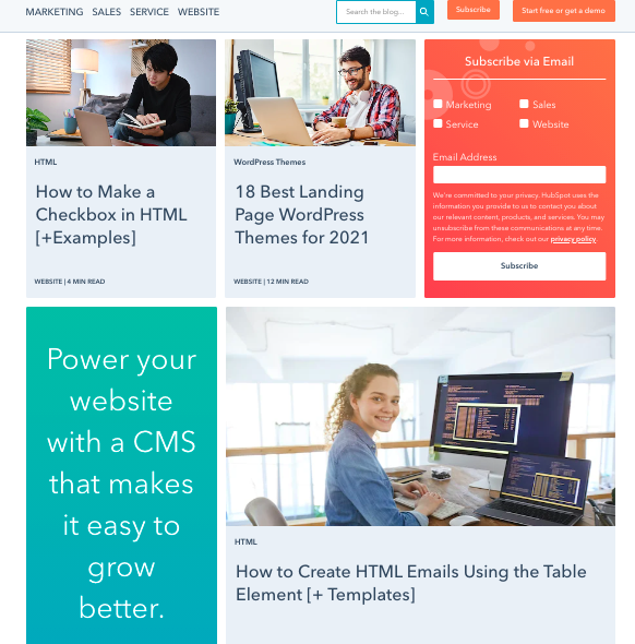 Blog listing page layout