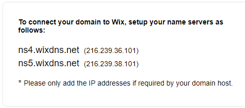 domain to wix nameserver