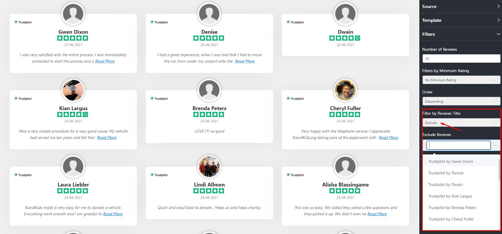 Trustpilot reviews exclude