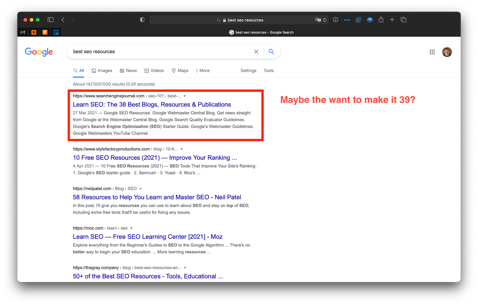 """A screenshot of Google's search results for """"Best SEO resources"""" with an article called Learn SEO: 38 best blogs, resources, and publications."""