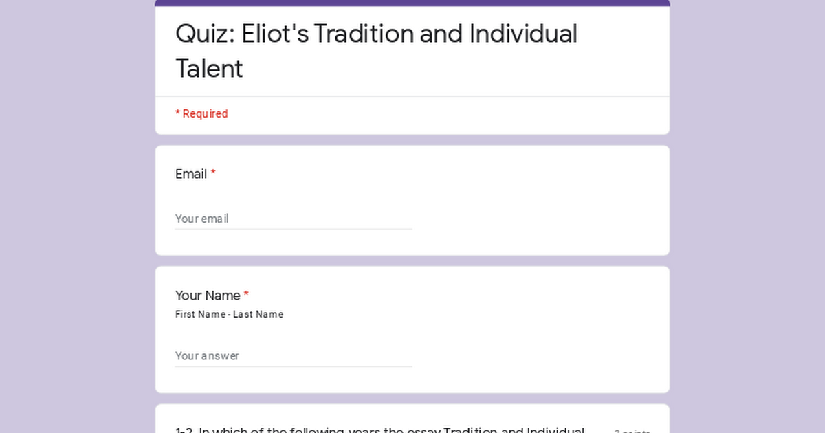 quiz eliot s tradition and individual talent