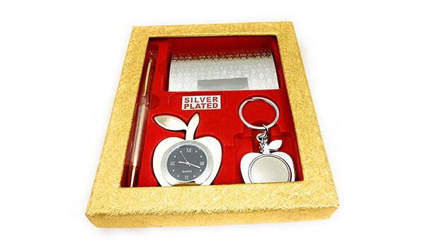 Golden Apple, Pen, and Business Card Holder Set