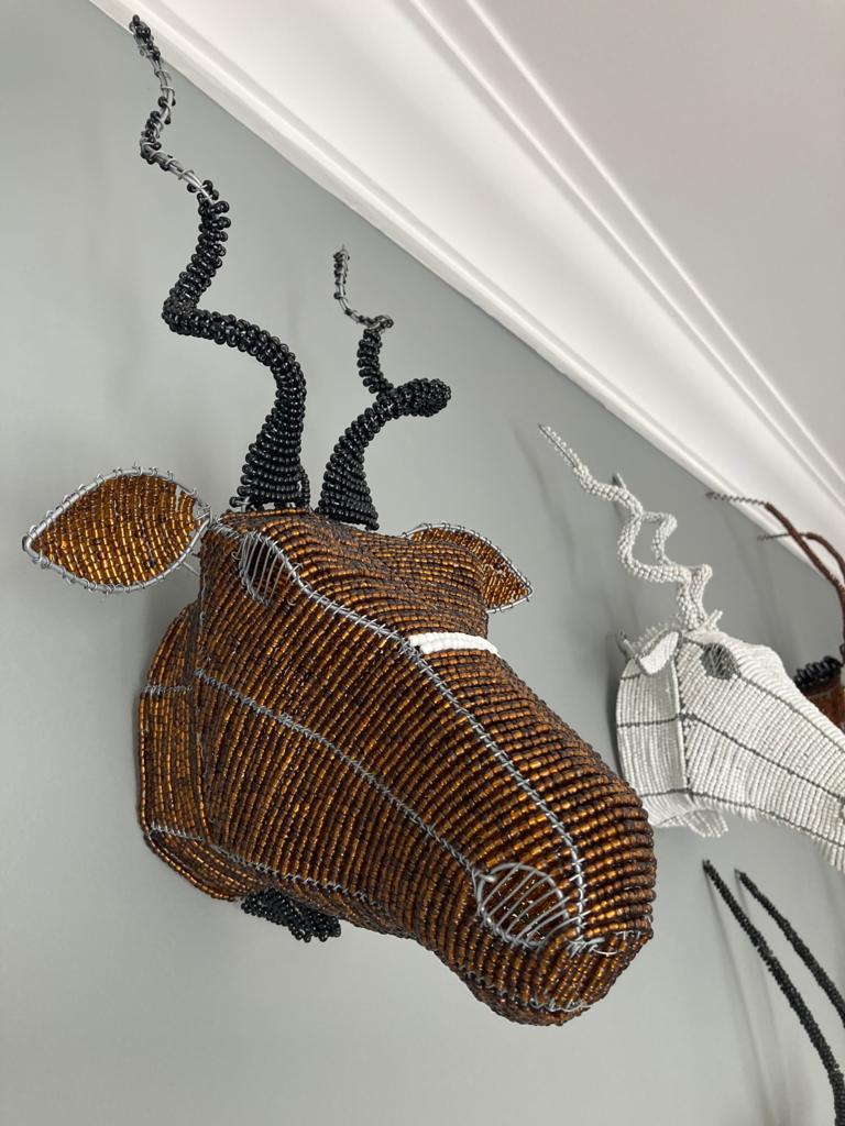 Handmade Blesbok beaded head mounted onto a wall