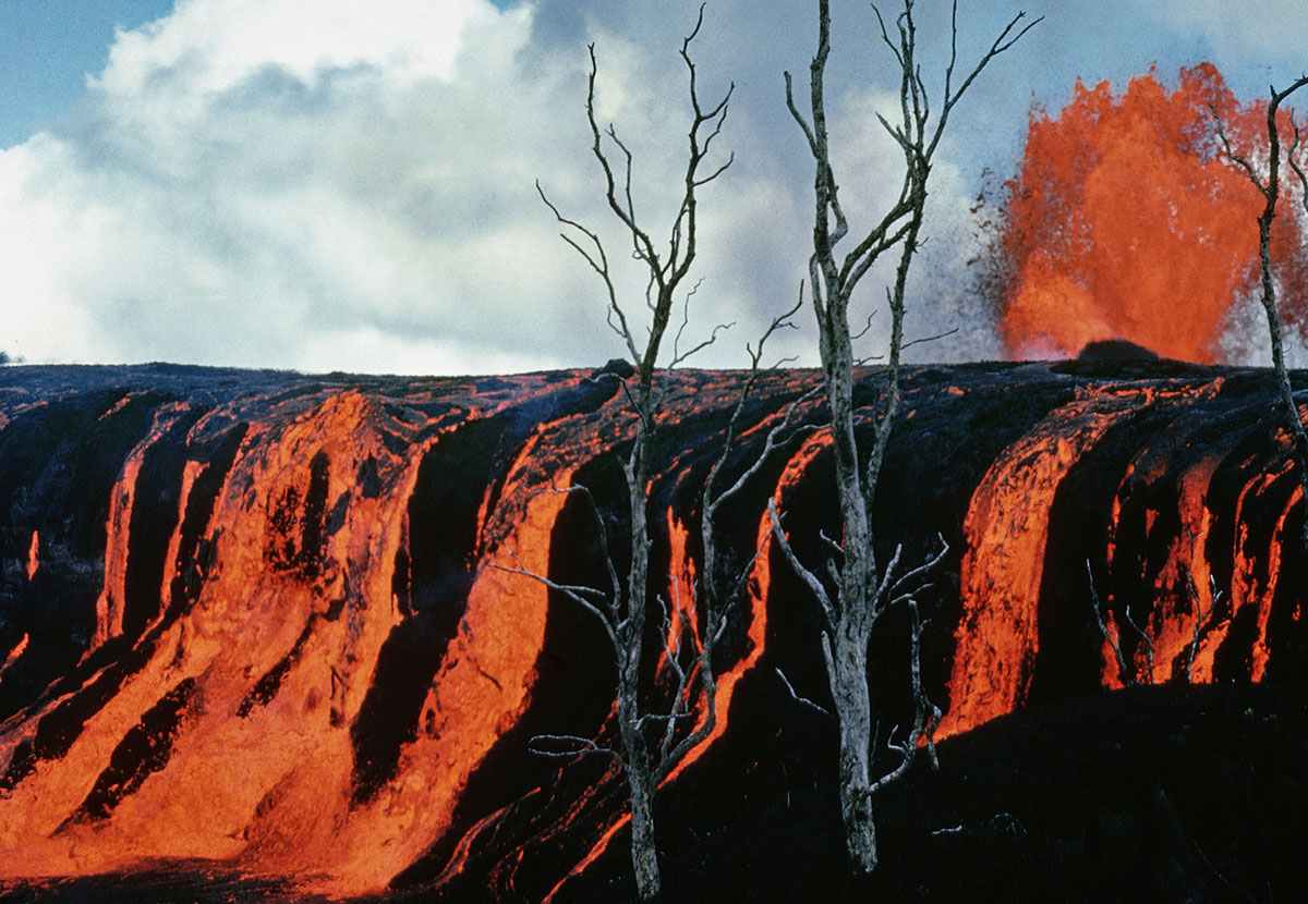 A cascade of lava