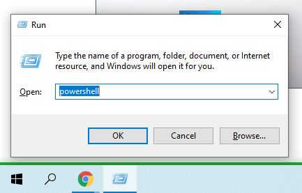 """For opening the Run command window, press Windows key + R. Then, to open a new PowerShell prompt, type accessible """"PowerShell"""" and click Enter."""