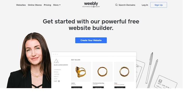 Homepage of weebly.com