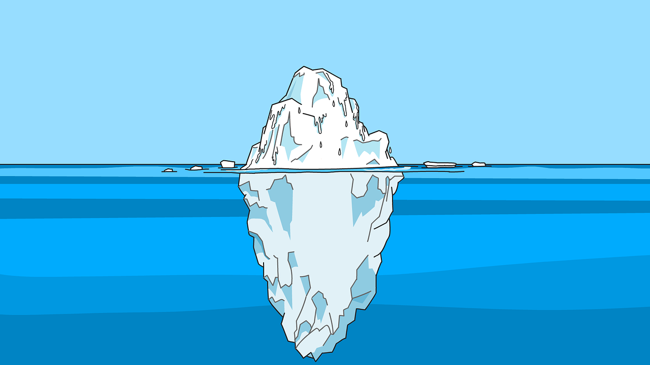Animated Image of an Iceberg with maximum portion submerged beneath the surface of water