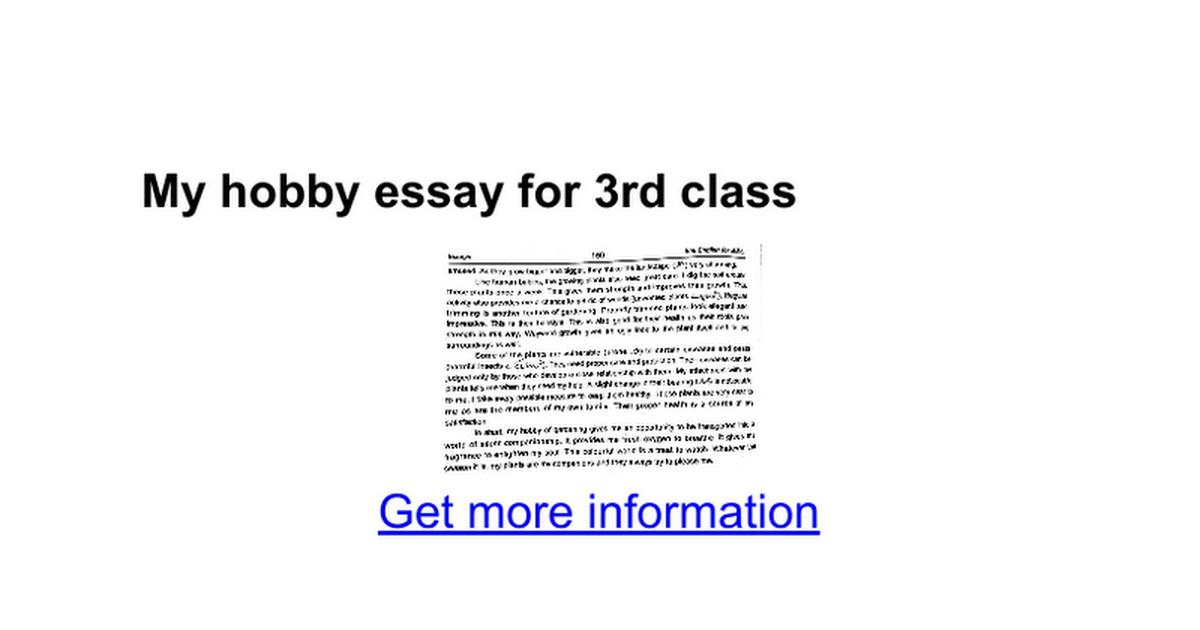 my hobby essay for rd class google docs