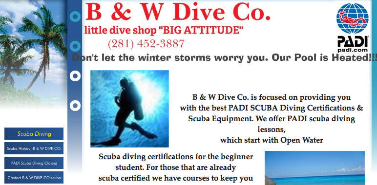 b&w dive co. homepage