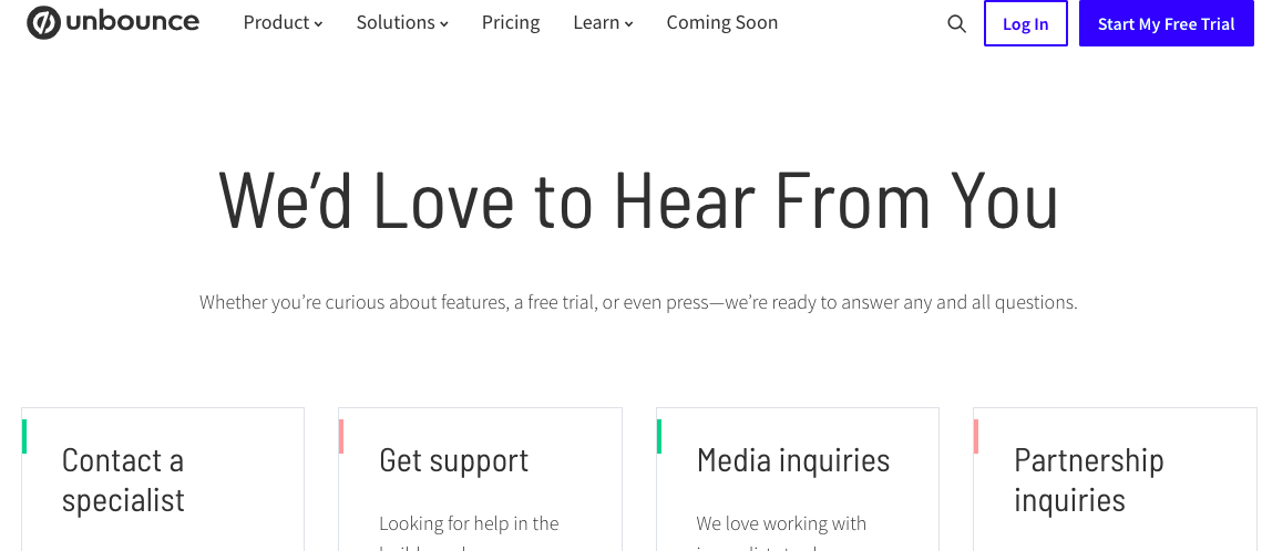 UNbounce contact page header