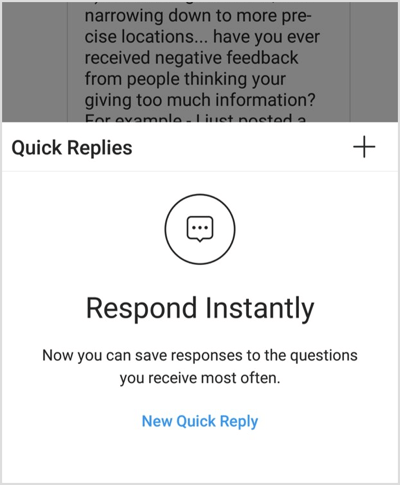 Screenshot example of Instagram quick replies